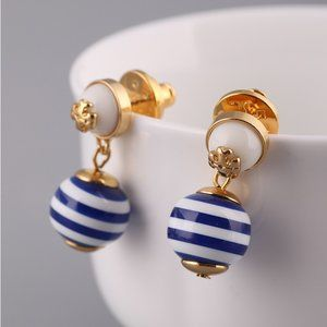 Tory Burch Metal Logo Striped Pearl Earrings